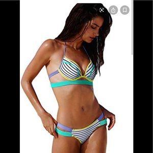 Victoria Secret Swim Underwire Striped 36D